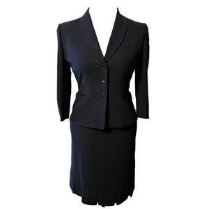 Tahari Navy & White Pinstripe Skirt Suit